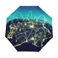 homem casaco preto pequeno venda por atacado-Mapa do Mundo físico Ilustração Umbrella Chuva Mulheres Chuva Do Sol Automático Guarda-Chuvas Dobráveis Homens Pequeno Umbrella com Revestimento Preto