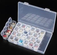 buzón de madera al por mayor-2 Estilo 28 Slots Caja de Almacenamiento de Caja de Almacenamiento de Plástico Ajustable para la joyería Herramienta de Almacenamiento de la Píldora de Bolas de Bordado de diamantes Bordado de diamantes
