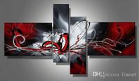 kanvas yağlıboya siyah kırmızı toptan satış-4 panel duvar sanatı el yapımı yağlıboya galerisi kırmızı siyah beyaz tuval sanat ev dekorasyon yağlıboya benzersiz hediyeler