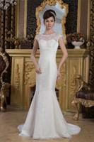 Wholesale Strapless Wedding Dresses Vests - 2018 sleeveless satin Vest lace mermaid Wedding Dresses Custom size color