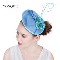 accesorios para el cabello flores de seda azul al por mayor-15 Colores Tela de seda Flor accesorios para el cabello diadema sombreros azul claro de la boda fascinator base sombrero DIY millinery mujeres partido iglesia SYF142
