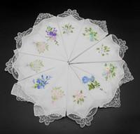 vintage textilien großhandel-Haustextilien Garten Vintage Baumwolle Taschentuch Mädchen Serviette bestickt Frauen Serviette bestickt Schmetterling Spitze Blume Taschentuch