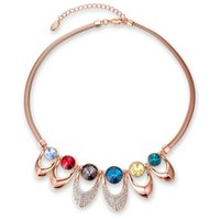Wholesale roses multi colored - Fashion Jewelry Rose gold jewelry multi-colored Women's Chokers Necklace (1 pc)