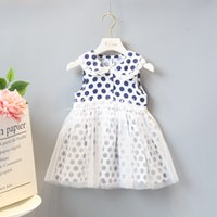 Wholesale Dress Polka Dot Pink Girls - New Girl dress candy color 2018 girls Kids dress 100% Cotton sleeveless Polka Dots print mesh dress causal summer Kids Clothing