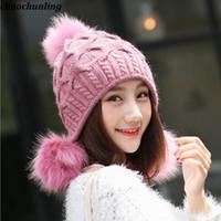 Stile coreano 2018 New Winter Lady Super Warm lana Balls Caps Lady Double  Ispessito Imitazione Coniglio Capelli cappelli a maglia 6 Colori 383228d5525a