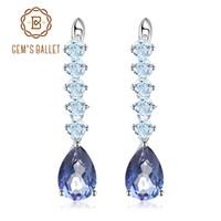 caixa de místico venda por atacado-Gem's Ballet Natural Mystic Quartz-Iolite Azul Gemstone Brincos das Mulheres 925 Brincos de Prata Esterlina Jóias Finas Com Caixa