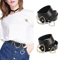 женская одежда корсет оптовых-XHTANG Fashion PU Leather Belt for Women Metal Heart Buckle Corset Belt Wedding Party Dress Decor Waistband Ladies Streetwear