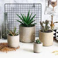 rundbeton großhandel-Runde und quadratische Zement Blumentopfform Hauptdekoration Handwerk Sukkulenten Pflanzen Pflanzgefäß Vase Formen