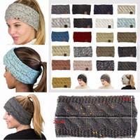 dobby orelhas beanie venda por atacado-Ear 21Colors malha Crochet Headband Mulheres Winter Sports Headwrap Hairband Turban cabeça banda 50pcs Warmer Beanie Cap Headbands AAA836-1