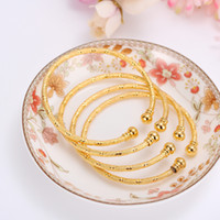 Wholesale wholesale 24k gold jewelry - 4pcs 24k Gold Africa Jewelry Ethiopian Bangle&Bracelet Dubai Bangle For Women Gifts kids bangle diy charms birthday gifts