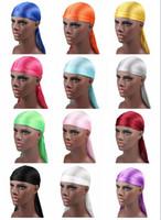 diademas peluca al por mayor-2018 Nuevos hombres de la moda de satén Durags Bandana Turban pelucas hombres sedoso Durag Headwear diadema pirata sombrero accesorios para el cabello