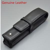 bolsitas para lapices al por mayor-Al por mayor-lujo negro PU cuero / cuero genuino MB estuche de pluma Papelería Oficina alta calidad Bolso de la marca conjunto de regalo bolsa de lápiz
