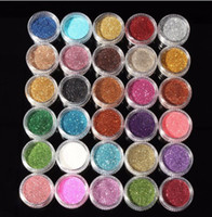 минеральные блеск для век оптовых-30шт смешанные цвета Пигмент Блеск Минеральный Spangle Eyeshadow Макияж Косметика Установить Макияж Shimmer Сияющий Eye Shadow 2018 года