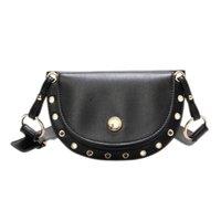 fanny leather al por mayor-JHD Moda Mujeres Paquetes de Cintura Suave de Cuero Fanny Bolsa Paquete Summer Girl Rivet Cinturón Bolsas de Alta Calidad Bolso de Hombro Femenino
