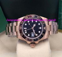 золотая черная керамическая окантовка часов оптовых-Роскошные часы II 18K Rose GOLD STAINLESS 126715 BLACK DIAL / Керамическая рамка 40мм Автоматическая мода мужские наручные часы