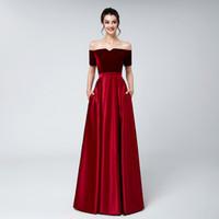 taille de bandage triangle achat en gros de-2019 robes de soirée en velours rouge foncé, plus la taille satin Une ligne manches courtes arabe formelle robes de soirée de bal d'étudiants portent