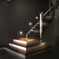 lampe lampe infrarouge achat en gros de-Hot LED Capteur Nuit Lumière Double Induction PIR Infrarouge Capteur De Mouvement Lampe Magnétique Infrarouge Applique Cabinet Escaliers Lumière Porche Appliques