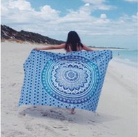 toalhas de praia jacquard venda por atacado-2018 verão toalha de praia 150 cm mandala quadrado yoga mat jogar tapeçaria hippie boho chiffon toalha de mesa xaile do bebê cobertor do bebê