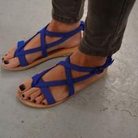 Wholesale heels shoes size 43 for women resale online - Women Sandals Plus Size Summer Shoes Casual Flats Sandals Shoes For Woman European Rome Style Beach Shoes Sandalias