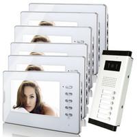 draht-gegensprechanlage großhandel-Brandneues Apartment Intercom System 6 Weißer Monitor verkabelt 7