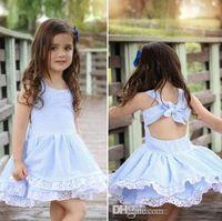 Wholesale Girls Cotton Frocks - 2018 Baby Girl Summer Dress Children Blue Striped Backless Bowknot Princess Dress Kids Fashion Lace Flower Cotton Frocks Free Shipping