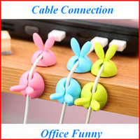 Wholesale Cute Usb Cable - Cute Rabbit ear Desk Cable Organizer USB Charger Cord Holder Earphone Cable Winder Pen Holder Clip Cable Protector zpg291