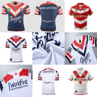 Wholesale Jersey Shorts Pattern - Cheap Mens 2018 St George Illawarra Dragons Sydney Roosters Home Away White Red Blue NRL National Super Rugby League Printed Pattern Jerseys