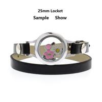 плавающий 25мм медальон памяти оптовых-25 мм хрустальное стекло живая память медальон браслет медальон одиночный / двойной Pu кожаный браслет fit плавающие подвески решений