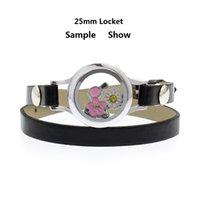 ingrosso cuoio braccialetto di fascino fluttuante-25mm di cristallo di vetro che vivono memory locket locket singolo / doppio braccialetto in pelle pu fit charms galleggianti rendendo