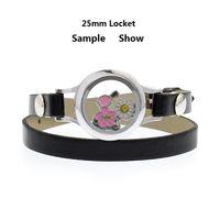 charm pulsera flotante cuero al por mayor-Cristal de cristal de 25 mm de memoria viva Medallón pulsera medallón simple / doble Pu pulsera de cuero en forma de encantos flotantes haciendo