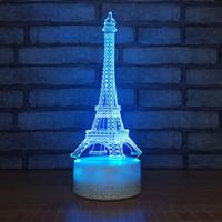 led-lichter turm eiffel großhandel-Hochwertige Mode Romantische Frankreich Eiffelturm LED 3D Nachtlicht RGB Veränderbar Stimmung Tischlampe Für Kinder Spielzeug Geschenk