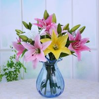 fleurs fuchsia artificielles achat en gros de-Branche de fleurs Artificielles Fleurs Real Touch Lily Tige Courte Fête De Mariage Maison Décoration Table Pièce maîtresse Blanc Jaune Rose Fuchsia