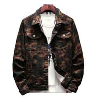 ingrosso giacca jeans disegni-New Mens Camouflage Denim Jacket Cappotto maschile Outwear Jaqueta Masculino Jeans giacca e cappotti Fashion Design Autunno Abbigliamento di marca