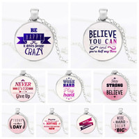 Wholesale happy easter gift - Happy Believe Never Give Up Letters Inspired Glass Cabochon Necklace Pendants Inspirational Fashion Jewelry Gift fot Women DROP SHIP 162598