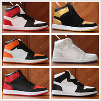 Wholesale Gold Yellows - 2018 Mens 1 OG Top Men Basketball Shoes 1S OG Sneakers AAA Quality Mandarin duck Trainers Mens Sport Sneakers Shoes Size 7-13