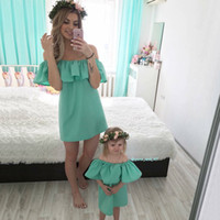 Wholesale moms babies matching clothes resale online - Mom and Daughter Dress for Mum Baby Family Matching Outfits Mommy and Me Clothes Fashion Family Set Chiffon Dress Mother Kids