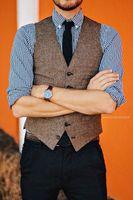 ingrosso maglia marrone punk-2019 Brown Groom Gilet Tweed Vest Lana Herringbone 10 Style Suit da uomo Gilet Slim Fit Gilet da uomo Vest Wedding Gilet Abbigliamento Plus Size