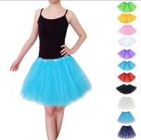 Wholesale wholesale tulle skirt - Adults Women Girl Ballet Skirt Tutu Dress Tulle Party Costume Dancewear Party Ballet Princess Pettiskirt 19 color KKA4224