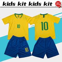 Wholesale yellow soccer kids - 2018 world cup soccer Jersey Kids Kit # 9G.JESUS home Soccer Jerseys #9 G.JESUS Child Soccer Shirts uniform jersey+shorts