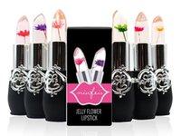 flower jelly lipstick toptan satış-Sıcak Yeni Uzun Ömürlü Nemlendirici Saydamları Çiçek Ruj Kozmetik Su Geçirmez Sıcaklık Değişimi Renk Jöle Ruj Balsamı makyaj