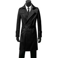 ingrosso uomini di trincea marrone-Uomo doppiopetto trench coat uomo lungo cappotto uomo abiti slim fit soprabito manica lunga nero blu kaki marrone autunno