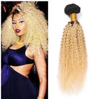 ingrosso tessuto biondo scuro-Bundle di capelli umani biondi crespi Afro 3Pcs / Lot Tessuti di capelli vergini brasiliani 1b 613 Biondo a due toni crespi capelli scuri Radici Bundles