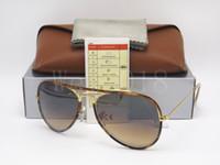 Wholesale flashing eyes - 1Pcs Top Quality Designer Classic Pilot Sunglasses Eyewear Mens Womes Full Color Tortoise Leopard 58mm Gradient Brown Flash Glass Lens Cases