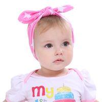 kore tavşan kulak kemeri toptan satış-Kore Moda 8 Renkler 19 * 7.5 CM Bebek Kız Sevimli Kumaş Bunny Kulak Saç bantları Twinkle Yıldız NOKTA NOKTA Headbands Tavşan Kulak Şapkalar BE7