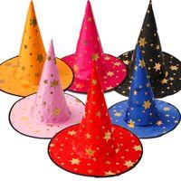 disfraces de brujas de halloween para adultos al por mayor-Fiesta de disfraces de Halloween con estampado de estrellas Sombreros de brujas Promoción Niños frescos Niños Adultos Oxford Fiesta de disfraces Cosplay Props Cap Gift DHL