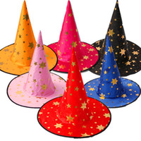 fantasia de chapéu de bruxas venda por atacado-Star Print Halloween Costume Party Witch Hats Promoção Legal Crianças Crianças Adulto Oxford Costume Party Cosplay Adereços Cap Presente DHL