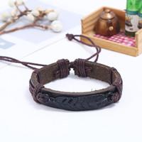 pulseira de penas trançada venda por atacado-Homens Faux Leather Feather Corda Ajustável Trançado Pulseira Pulseira Jóias