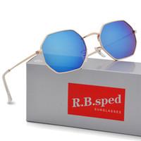 gafas de sol espejadas mujeres al por mayor-Nueva llegada gafas de sol Polygon hombres mujer diseño de marca Marco de metal femenino espejo masculino gafas de sol gafas de sol con estuches y estuches gratuitos