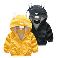 ingrosso giacca coniglio dei ragazzi-Cute Rabbit Ears Hooded Children Clothes Boys Giacche Autunno 2017 New Brand Toddler Baby Boys panno giacche cappotto primavera