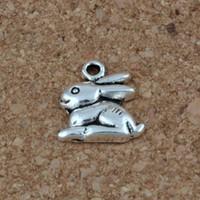 Wholesale necklaces bunny rabbit - Bunny Rabbit Charms Pendants 100Pcs lot 13x14.5mm Antique Silver Fashion Jewelry DIY Fit Bracelets Necklace Earrings A-226